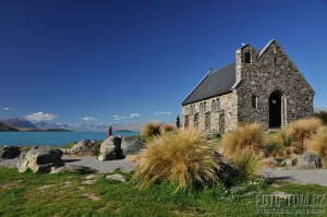 Nový Zéland, kostelík u jezera cestou k Mt Cooku