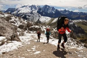 Vysokohorská turistika v Dolomitech