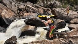 Tasmánie, Franklin river - překonávání klíčové soutěsky