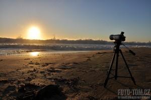 Tasmánie - západ slunce nad oceánem