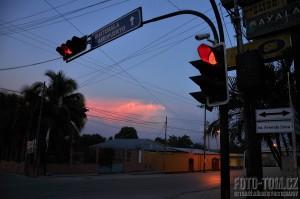 Semafor a západ slunce
