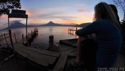 Jezero Atitlan, Panajachel, západ slunce a Pája (rybím okem foceno)