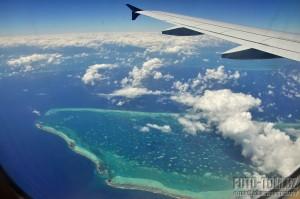 Korálové útesy v Karibiku ze vzudchu