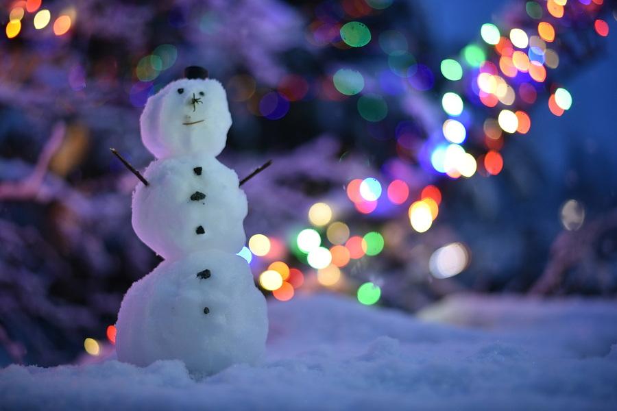 83/365 Náš první letošní sněhulák! Maličkej a bez nosu z mrkve, ale pravej, ze sněhu a s knoflíkama.